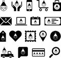 Santa claus icons or symbols set of black and white with face of on them Stock Images