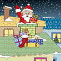 Santa claus illustration of of descends of the chimney Royalty Free Stock Photography