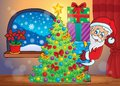 Santa claus indoor scene eps vector illustration Royalty Free Stock Image
