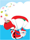 Santa Claus inflight and his broken gift bag Royalty Free Stock Photography