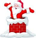 Santa claus jumping from chimney happy Royalty Free Stock Photo