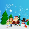 Santa Claus with kid in Christmas snow scene.