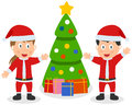 Santa Claus Kids, Tree & Gifts Stock Photos