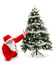 Santa Claus laying and showing christmas tree Royalty Free Stock Photo