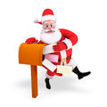 Santa claus with letter box Stock Images