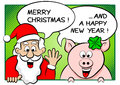 Santa claus and lucky pig with speech bubbles vector illustration of merry christmas a happy new year Stock Photos