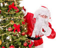 Santa Claus  making silence gesture. Royalty Free Stock Photos