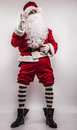 Santa claus men in costume studio photo Royalty Free Stock Images