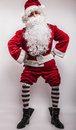 Santa claus men in costume studio photo Stock Photography
