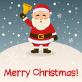 Santa claus merry christmas card with a cartoon holding a bell in a snowy scene eps file available Stock Image