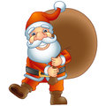 Santa claus merry christmas ho ho ho with a bag of gifts vector illustration Stock Photography