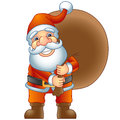 Santa claus merry christmas ho ho ho with a bag of gifts vector illustration Royalty Free Stock Image