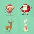 Santa claus monkey rabbit deer happy som står ny Royaltyfri Foto