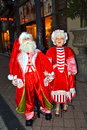 Santa claus and mrs claus budapest hungary at pedestrian street at christmastime Stock Image