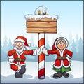 Santa Claus and Mrs. Santa at North Pole with wooden sign