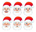 Santa claus multiple expressions funny cartoon and vector isolated character Royalty Free Stock Photos