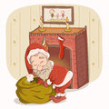 Santa claus near the fireplace a vector illustration of with a bag of christmas presents Royalty Free Stock Photo