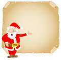 Santa claus and old parchment vector illustration of Royalty Free Stock Image