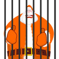 Santa Claus orange prisoner clothing. Christmas in prison. Windo