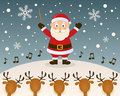 Santa claus orchestra leader a funny cartoon christmas with as and five reindeer singing carols in a snowy scene eps Royalty Free Stock Image