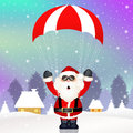 Santa claus with parachute illustration of Royalty Free Stock Image