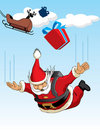Santa Claus Parachuting Stock Image