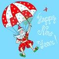Santa claus parachutist jolly coming down on a parachute Stock Images