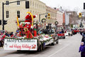 Santa claus parade port hope ontario a jolly waves to the crowd at the in historic on november Royalty Free Stock Photos