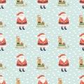 Santa Claus pattern. Santa sleigh with gifts Christmas vector background. Cartoon Santa character design Royalty Free Stock Photo