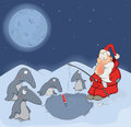 Santa claus and penguins cartoon fishes with Royalty Free Stock Image