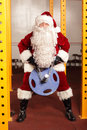 Santa claus physical condition training before christams time in gym Royalty Free Stock Photography