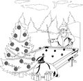 Santa Claus playing billiards