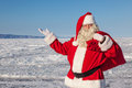 Santa Claus, a pointing gesture Royalty Free Stock Photo