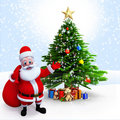Santa claus pointing to a Xmas tree Royalty Free Stock Photography
