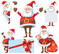 Santa claus posing in several poses with gifts bag and posters Stock Photography
