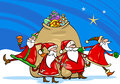Santa claus with presents cartoon illustration of group christmas characters big sack of gifts Royalty Free Stock Photo