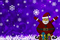 Santa Claus with Presents and Snow Flakes Stock Photo