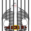 Santa Claus prison in striped robe. Window in prison with bars.