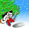 Santa claus rapper in the illustration of in image of a on the background of the christmas tree illustration done on separate Royalty Free Stock Photo