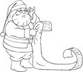Santa claus reads from christmas list coloring pag a vector illustration of holding and reading his of good and bad children Stock Image