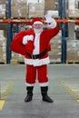 Santa Claus ready for Christmas,waving Royalty Free Stock Photo