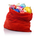 Santa Claus red bag with Christmas toys Royalty Free Stock Images