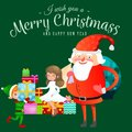 Santa claus in red hat with beard sits on chair with hare in hand which makes wish, elf and magic fairy with golden