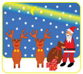 Santa Claus and reindeer Stock Photos