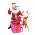 Santa claus with reindeer and big gift box Royalty Free Stock Photography