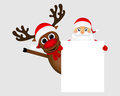 Santa Claus and reindeer with a blank white placard banner Royalty Free Stock Photo