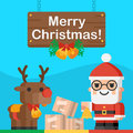 Santa Claus and reindeer Christmas concept Royalty Free Stock Photo