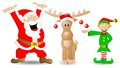 Santa claus reindeer and christmas elf on white vector illustration of Royalty Free Stock Photos