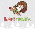 Santa claus and reindeer holidays christmas Royalty Free Stock Photo
