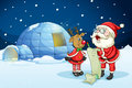 Santa claus and reindeer llustration of in night Royalty Free Stock Photography